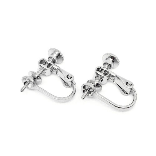 white gold plated sterling silver clip on earrings settings