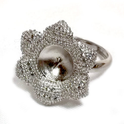 Large Flower 925 Sterling Silver Ring Setting