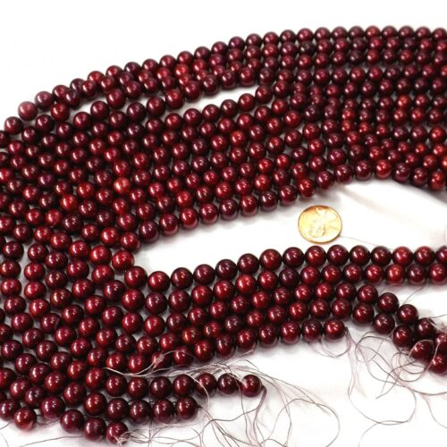 Cranberry Red Colored 9-10mm High Quality Round Pearl Strands