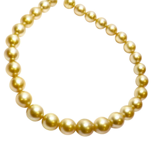12-15mm round golden south sea pearl necklace