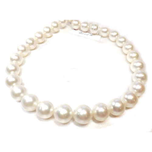 13-16mm Huge South Sea Truly ROUND Australia White Pearl Necklace 14k Gold Clasp